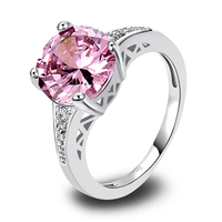 lingmei Wholesale Round Cut Pink Topaz & White Topaz 925 Silver Ring Size 6 7 8 9 10 11 12  Love Style Women Gift Free Shipping