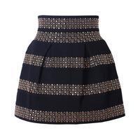 Office Ladies Fashion Clothing Autumn 2016 Woman Vintage Style Black High Waist Rivet Striped Skirt Studded
