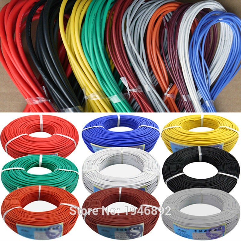 22 AWG Flexible Silicone Wire RC Cable 22AWG 60/0.08TS Outer Diameter 1.7mm With 10 Colors to Select 1meter red 1meter black color silicon wire 10awg 12awg 14awg 16 awg flexible silicone wire for rc lipo battery connect cable