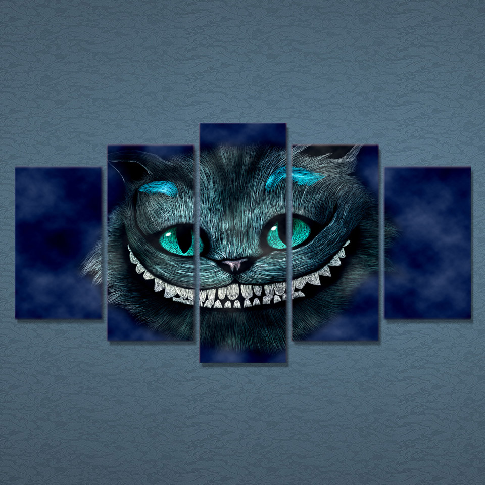 5 Teile/satz Gerahmte HD Gedruckt Katze Alice Wunderland Wandkunst ...