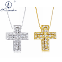 Slovecabin 100% 925 Sterling Silver New Design Janpen Cross Pendant & Necklace For Women Double Cross Pendant Necklace Jewelry