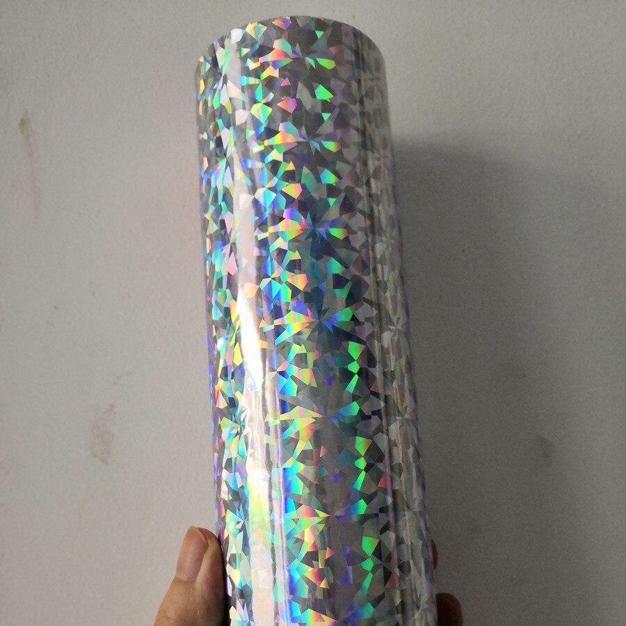 Feuille holographique couleur argent verre cassé conception presse à chaud sur des cartes de papier ou des matériaux en plastique film de transfert de chaleur