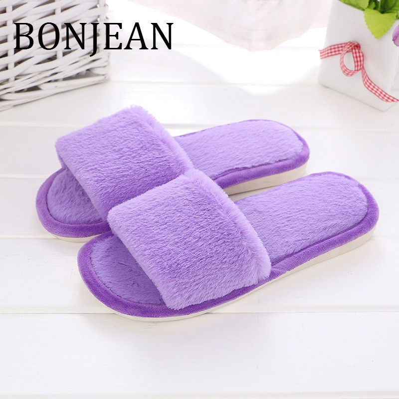 BONJEAN Faux Fur Decoration Slippers for Lover 2019 Spring Autumn Flat Shoes for Women Cotton Fabric Indoor Slippers BJ1406
