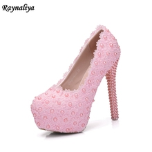 Handmade Women Wedding Pearl Crystal Pumps Round Toe Sexy Bride Super High Heels Female Rhinestone Party Shoes Big Size XY-A0041 handmade women pumps princess shoes pearl rhinestones wedding shoes crystal adult ceremony super high heels xy a0044