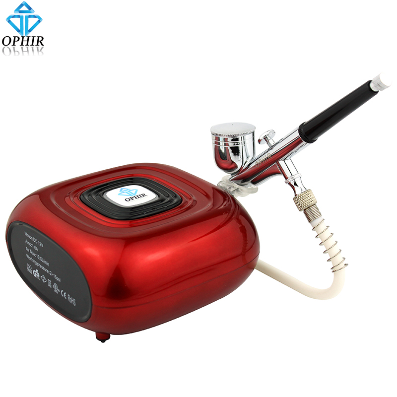 OPHIR Portable Dual Action Airbrush Kit with Mini Air Compressor for Cake Decoration Cake Tools Hobby Airbrushing _AC123R+AC004 ophir portable airbrush kit with mini air compressor for airbrush cosmetic makeup professional air brush nail tools ac123r ac004