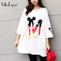 MissLymi Fit M-XXXL Plus Size Women Loose T-Shirt 2017 New Summer Casual Cartoon Mickey Printed Short Sleeve Tops Pink