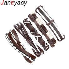 Мужской кожаный браслет коричневый в стиле панк Повседневная