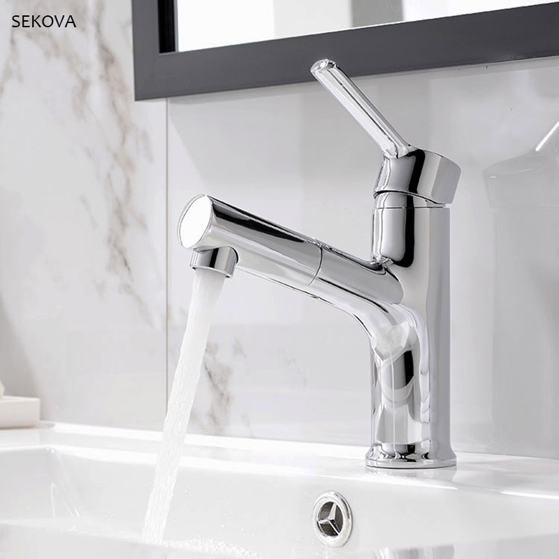 Strange Double Function Outlet Bathroom Basin Faucet Cold And Hot Bath Sink Water Mixer Tap Pull Out Faucet Brass Tap Chrome Black Download Free Architecture Designs Scobabritishbridgeorg
