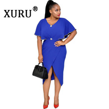 XURU Summer New Fashion Beaded Ruffle Sleeve Dress Sexy Womens Split Snowflake Buckle Casual