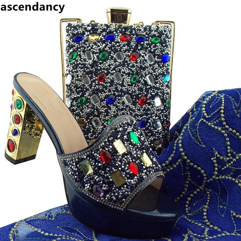 Pour Ensemble Appliques Set Chaussures Green Avec coral dark Assortis Party Sacs Dames Arrivée Italiennes violet À Décoré Les Marine Et Nouvelle Pink Correspondre yellow bleu Rz07an