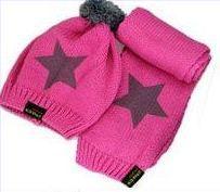 Розничная, комплект из шапки и шарфа для малышей, шерстяная шапка и шарф для малышей, зимняя детская шапка, вязаные шапки со звездой, вязаная шапка для детей - Цвет: rose pink