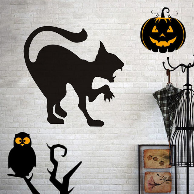 Scary Black Cat Wall Sticker Halloween Decoration Hissing Cat Vinyl Decal Wall  Art, Angry Cat Hallowmas Home Decor Accessories