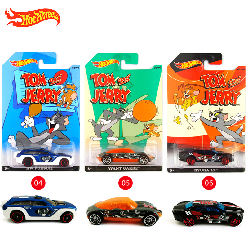Hot Wheels Car Collector's Edition Tom and Jerry Metal Diecast Cars Collection Kids Toys Vehicle For Gift 6pcs/set