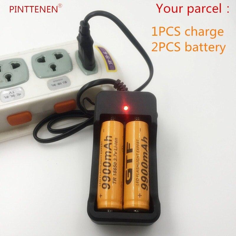 2 Piezas Nuevo 18650 Batera De 3,7 V 9900 Mah Recargable Batera Liion Con Cargador Para Linterna De Led, Batera De Lit + Cargado