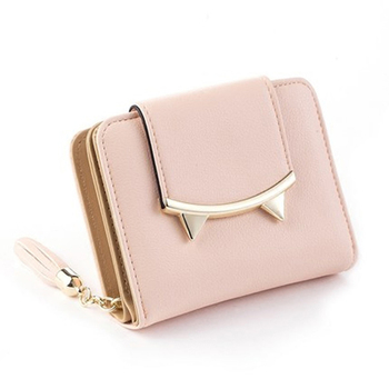 New Korean Slim Mini Wallet Women Small Clutch Cute Cat Anime Leather Trifold Female Purse Coin Card Holder Dollar Bag Cuzdan shoulder bag