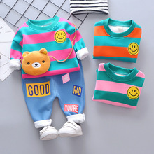 New Spring and Autumn Leisure 0-4 Year Old Baby Striped Smile Thickened Two Pieces of Childrens Suits Kids Clothes