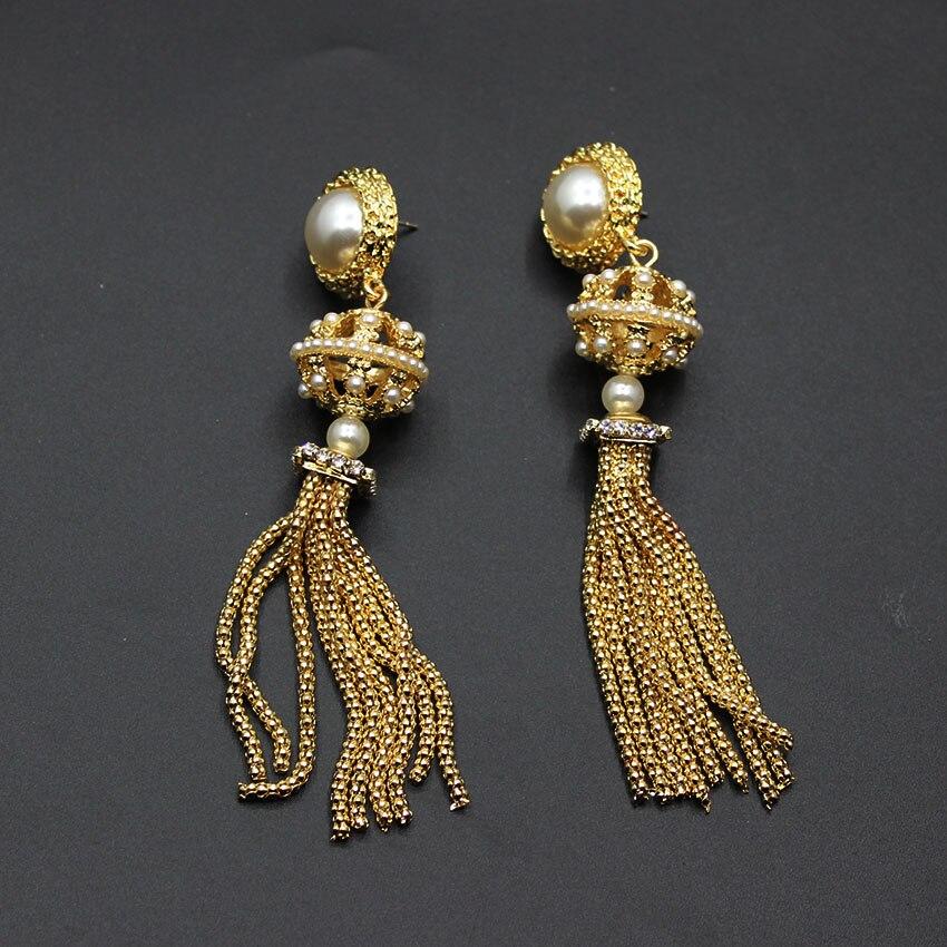 New European and American Baroque long fringed pearl earrings metal court luxury catwalk earrings 615 new european and american fashion steampunk hourglass gear alloy drop earrings