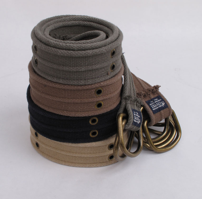 Wow! Brand D-Ring Canvas Bælter Mænd Høj kvalitet Fashion Belt Casual Dobbelt Air Eye Bælter 100% Cotton Washed Soft