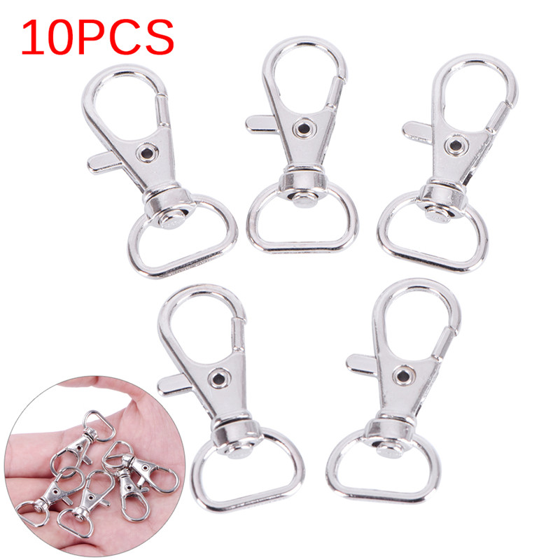 Portable 10pcs/pack Keychain MINI Metal Lanyard Hook Swivel Snap For  Lobster Clasp Clips Key Chain Wholesale