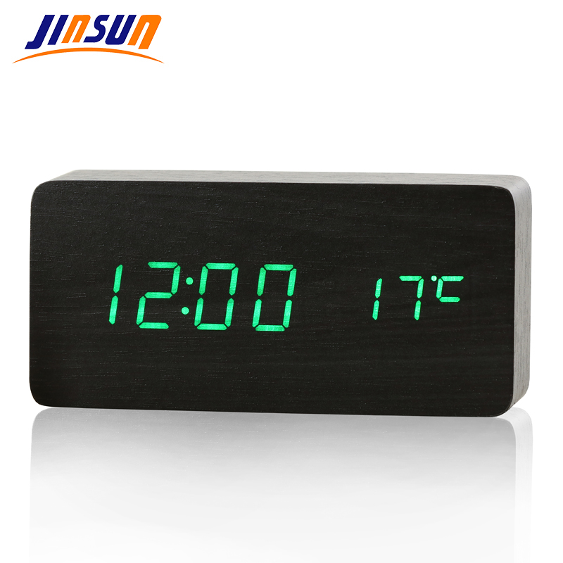 JINSUN LED Alarm Clock Time/date/temperature Digital Bamboo Wood Voice Table Clocks LED Display Desktop Digital Table Clocks image