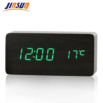 JINSUN LED Alarm Clock Time/date/temperature Digital Bamboo Wood Voice Table Clocks  Display Desktop