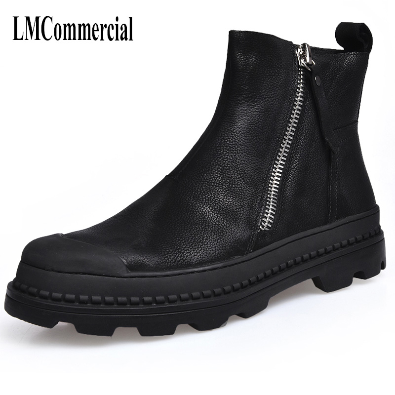 The autumn winter men's Martin men leather boots British style high shoes men with cashmere breathable men casual shoes autumn and winter with warm cashmere leather boots british retro men shoes martin head layer cowhide shoes boots breathable