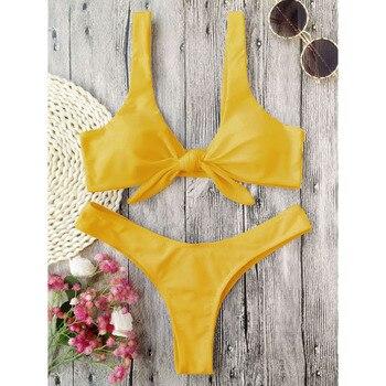 Zaful Swimsuit New Arrival Women Knotted Padded Thong Bikini Mid Waisted Solid Color Scoop Neck Brazilian Biquni Beach Swimwear 1