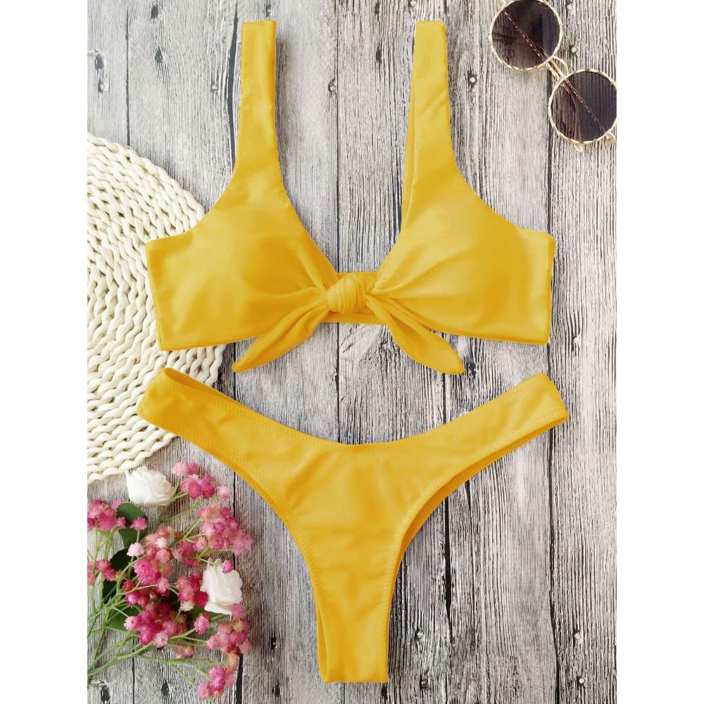 LANGSTAR Bikini Swimsuit Women Knotted Padded Thong Bikini Mid Waisted Solid Color Scoop Neck Brazilian Biquni Beach Swimwear