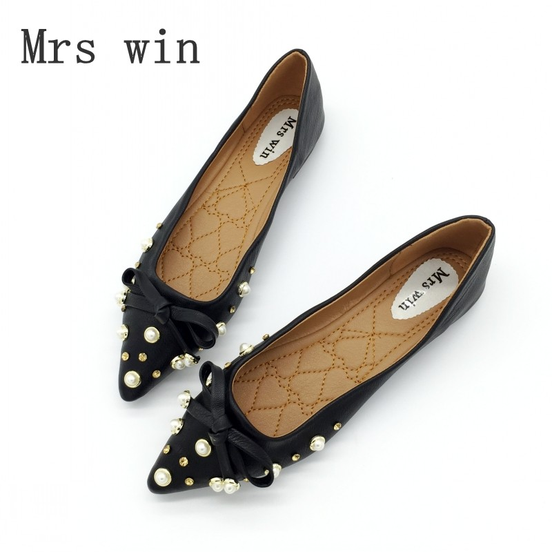 Mrs Win Brand Autumn Fashion Brand Women Flats Shoes Slip On Rivet Woman Single Shoes Driving Footwear Zapatos Mujer Plus Size beyarne rivets decoration brand shoes flats women spring autumn fashion womens flats boat shoes sexy ladies plus size 11