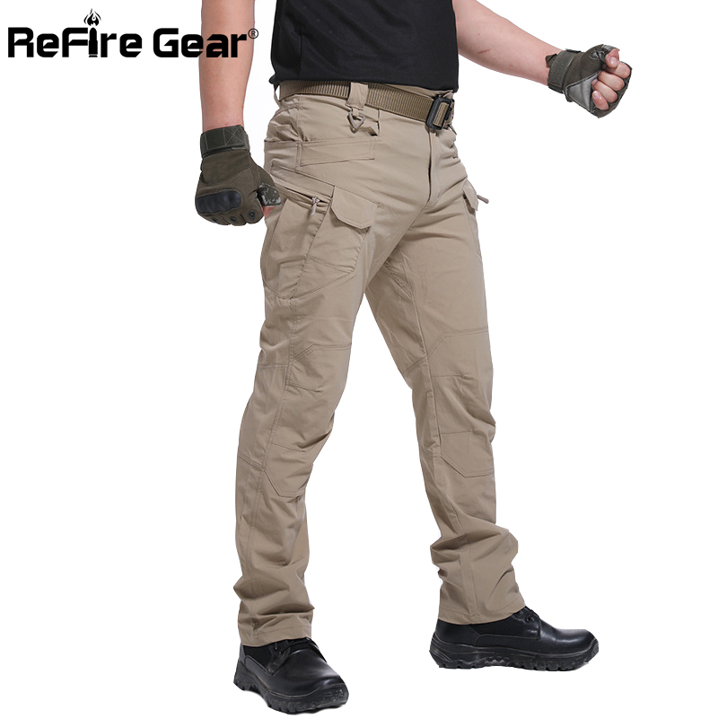 ReFire Gear IX7 Military Urban Tactical Pants Men Spring Cotton SWAT Army Cargo Pants Casual EDC Pockets Soldier Combat Trousers