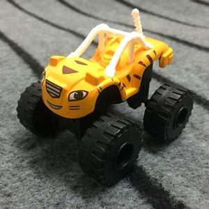 Image 2 - 6PCS צעצוע מרוצי מכוניות Blaze מפלצת Diecast צעצוע רוכב מכוניות משאיות פעולה איור OPP שקיות מתנת ילד