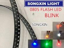 1000 sztuk 0805 Flash LED SMD diody ciepły biały czerwony niebieski zielony żółty pomarańczowy światło RGB Emitting Diod Alto 0805 Blink zmienia kolor