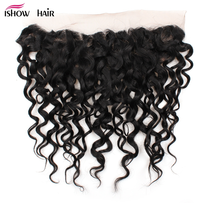 Ishow Malaysian Water Wave Lace Frontal Closure Pre Plucked With Baby Hair 100 Non Remy Human