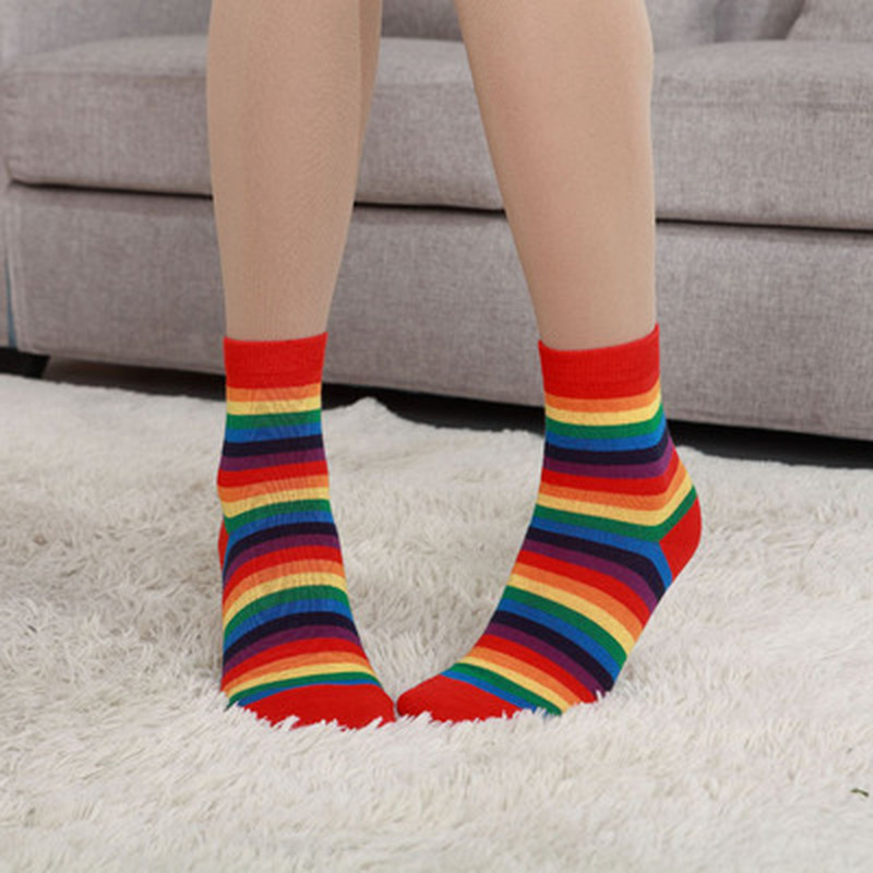 Fashion Cotton   Socks   Sweet Ice Cream Rainbow Color   Socks   For Women Girls Spring Summer Autumn Cotton Fine   Socks
