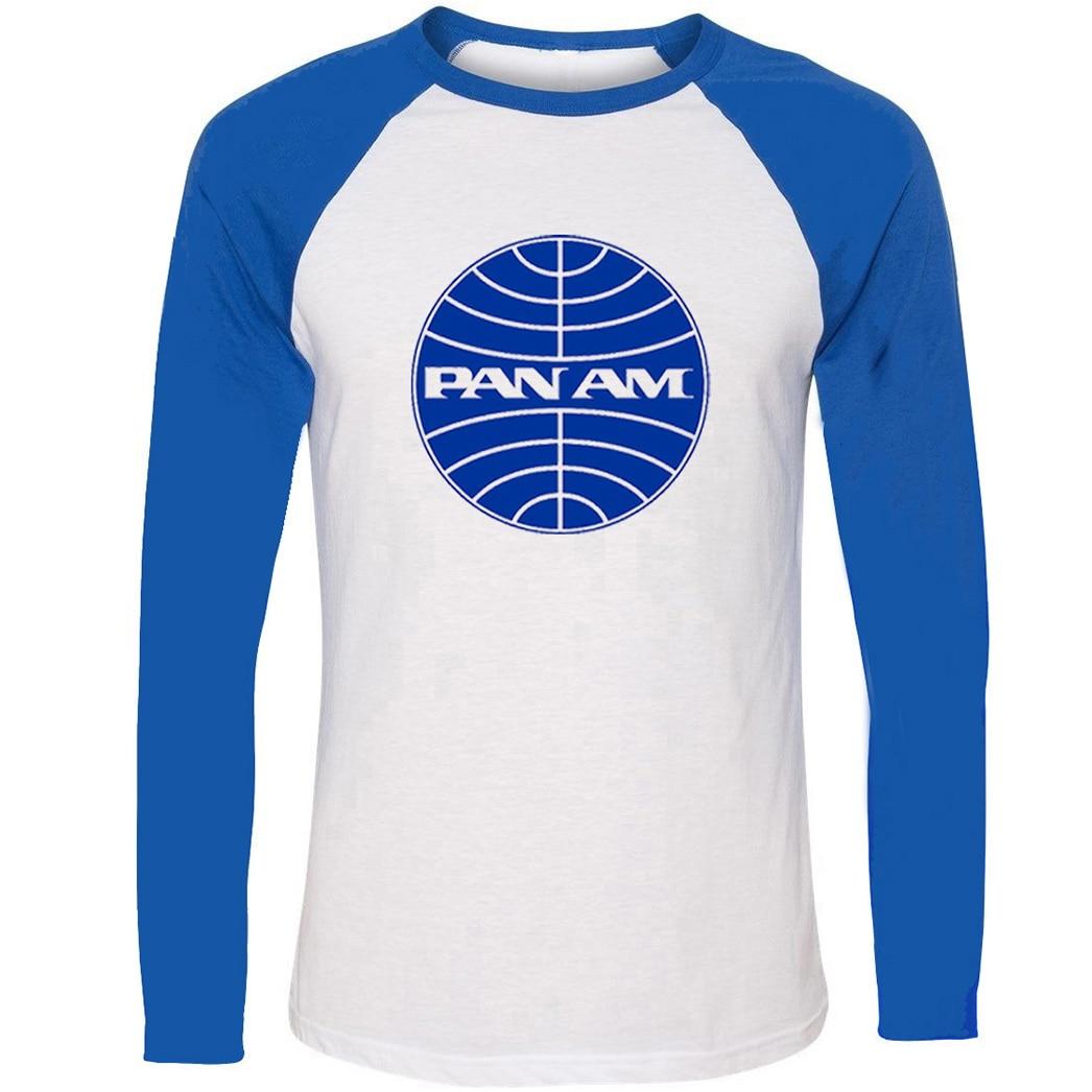 Fashion Retro Pan Am Unisex Raglan Long Sleeve Funny T Shirt Men Women Boy Girl Cotton Casual T-shirt Hip Hop Patchwork Tops