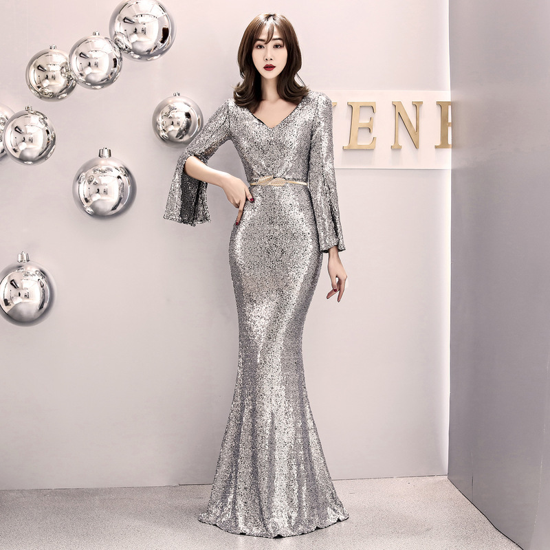 U-SWEAR Sexy V-Neck Full Sleeve   Evening     Dress   Party Prom Formal Gowns Floor-Length Sequin Trumpet Vestidos Robe Ceremonie Femme