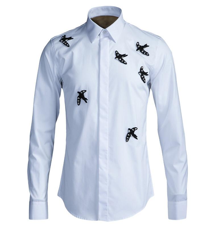 Brand design shirt men 2017 luxury leopard long sleeve men for Long dress shirts mens