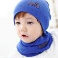 Bufanda del sombrero del bebé recién nacido niño de punto cap crochet niño ocasional niños Sombreros Calientes del Invierno Unisex Sólido de Lana Bebé Caps Bufanda conjuntos