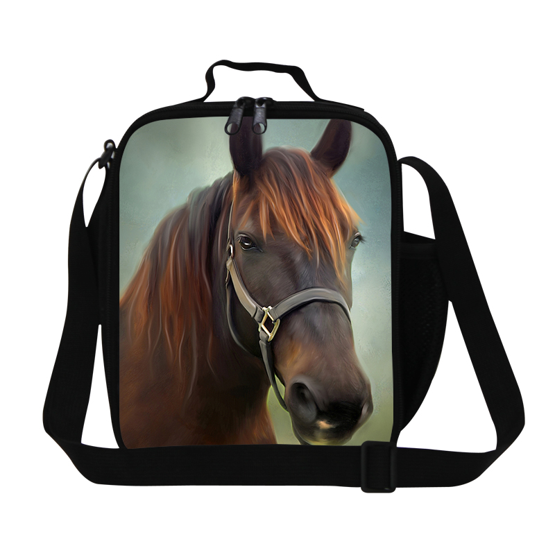 Stylish horse lunch cooler bag for children,Personalized adults thermal lunch box bag,mens insulated meal bag with bottle holder