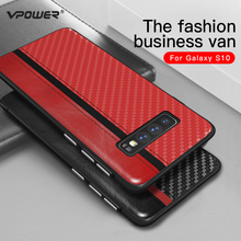 Vpower Luxury PU Leather Phone Case For Samsung Galaxy S10e S10 Plus Carbon Fiber Cases Shockproof Back Cover TPU Fundas