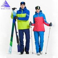 VECTOR Professional Men Women Ski Suits Waterproof Warm Skiing Snowboarding Jackets + Pants Winter Snow Clothing Set Brand