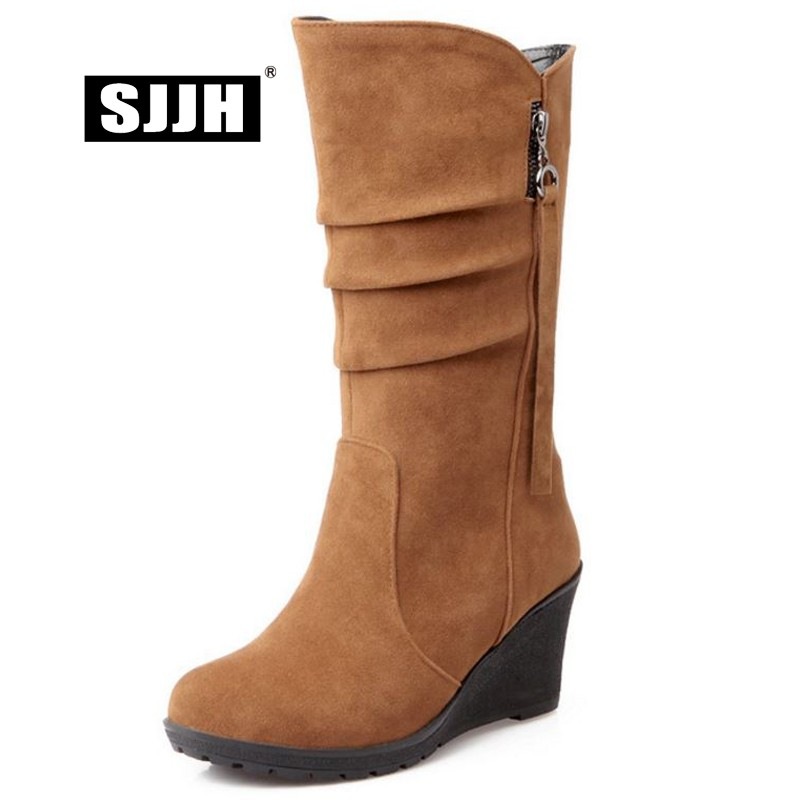 SJJH Women Velvet Snow Boots with Round Toe Wedges Zip Short Plush Mid-Calf Boots Autumn Fashion Casual Shoes Large Size A966 sweet women s mid calf boots with buckles and zip design