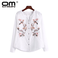 2017 Women Blouse Long Sleeve Floral Embroidery Shirts New Casual Bird Pattern Loose Tops Zipper Cardigan Shirt female TSC039