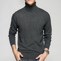 New 2017 Autumn Winter Youth Fashion Turtleneck Sweater Men Knitted Sweater High Elastic Mens Sweaters And