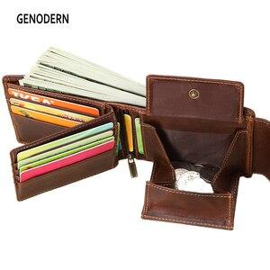 Image 1 - GENODERN Genuine Leather Men Wallets Vintage Hasp Design Women Money Bag Zipper Pocket Card Holder Male Portomonee Coin Purse