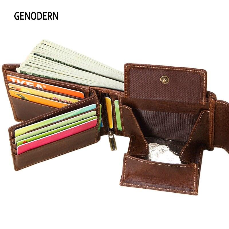 GENODERN мужские кошельки из натуральной кожи, Винтажный дизайн с застежкой, женская сумка для денег, карман на молнии, держатель для карт, мужской кошелек для монет