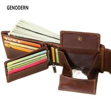 GENODERN мужские бумажники из натуральной кожи, Винтажный дизайн с застежкой, женская сумка для денег, карман на молнии, держатель для карт, мужской кошелек для монет