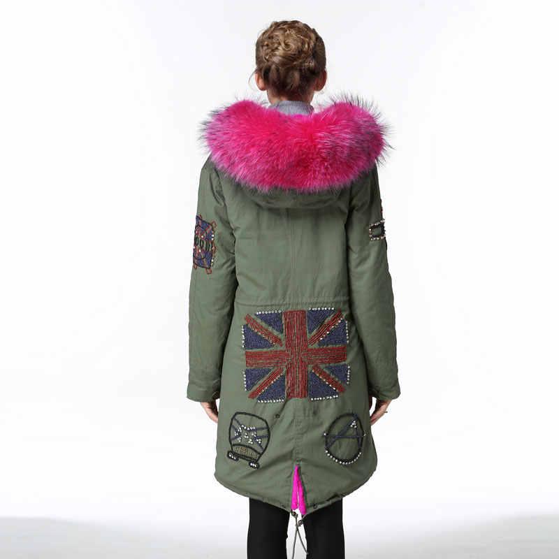 מעיל חורף מעיילי פרווה זה חורף נשים אלגנטי עלה אדום בריטניה ואגלי צבא ירוק מעיילים