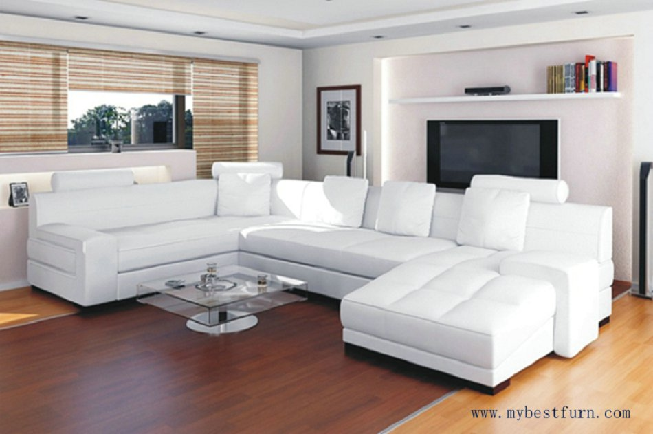 Free Shipping Top Grain Cattle Leather Sofa Set White And Customized Color U Shaped S8568