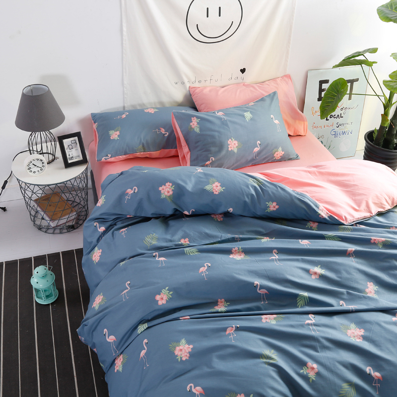 Navy Blue Duvet Bedding Set With Flamingo Pattern Pink Cover Twin Solid Bed Sheet Cartoon Cotton